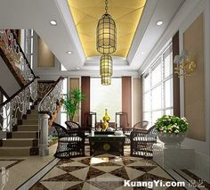 L-shaped staircase] luxury European-style L-shaped staircase ...
