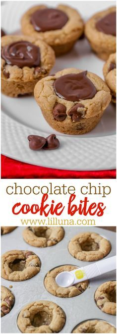 Chocolate Chip Cookie Bites - Simply use your favorite homemade cookie dough recipe (or store bought!), and bake in a mini muffin tin. Then pour melted milk chocolate on top to make these ultra yummy cookie bites!!