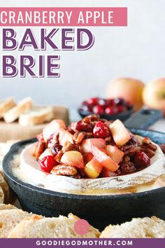 Cheesy, sweet, and tart, this cranberry apple baked brie recipe is an easy holiday appetizer recipe! In just a few minutes, you can make an elegant and delicious baked brie everyone will love. #bakedbrie #easyappetizer #easyrecipe Easy Appetizer Recipes, Yummy Appetizers, Delicious Desserts, Snack Recipes, Yummy Food, Snacks, Baked Brie, Baked Apples, Starter Dishes