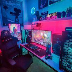 Best Pc Setup, Best Gaming Setup, Gaming Desk Setup, Computer Gaming Room, Gamer Setup, Bedroom Setup, Room Ideas Bedroom, Gamer Room, Pc Gamer