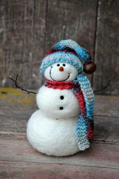 Snowman Needle Felted Snowmen Solid Wool 436 by BearCreekDesign