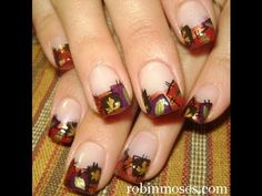 autumn patchwork design for fall nails art: robin moses nail art tutorial
