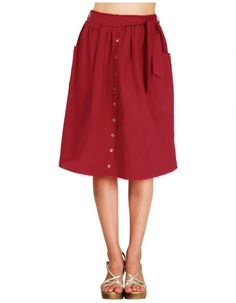 Red Leander Skirt pair with a white flowy shirt or a black basic tee.