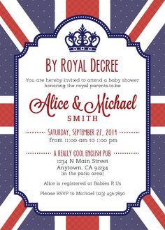 A Royal Baby Shower - custom British themed baby shower invitation.