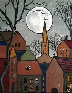PRINT-OF-PAINTING-4X6-RYTA-HOUSES-ABSTRACT-FOLK-ART-BLACK-CAT-TREES-HOUSES