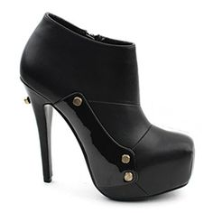 [SHOESONE.BIZ] 1244  Pointed PU leather Bootie (13.5cm)