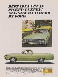 1968 Ford Ranchero Pickup Truck Ad Vintage Advertisement Green Classic Car Photo Print Wall Art Decor
