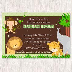 Baby Shower Green Jungle Zoo Safari Invitations - Printable Digital File or Printed 5x7 or 4x6 Cute Adorable  Unisex Boy