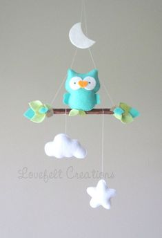 baby mobile baby mobile owl owl mobile mint by LoveFeltXoXo Owl Mobile, Baby Crib Mobile, Baby Cribs, Baby Room Decor, Nursery Decor, Felt Crafts Diy, Baby Dress Patterns, Baby Sewing Projects, Girl Christening