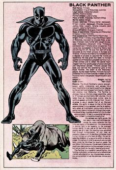 Black Panther The Official Handbook of the Marvel Universe Issue - Read The Official Handbook of the Marvel Universe Issue comic online in high quality Marvel Comic Character, Marvel Comic Books, Comic Book Characters, Comic Book Heroes, Marvel Characters, Comic Books Art, Character Bio, Character Design, Marvel Comics Superheroes