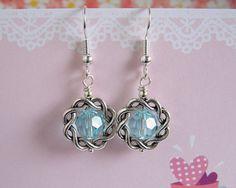 Braid Loop Aqua Crystal Dangle Earrings. $5.00, via Etsy.