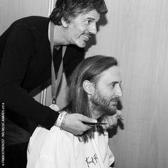 """David Guetta, nommé dans la catégorie """"Artiste Masculin Francophone de l'Année » a changé de coupe dans les coulisses des NRJ Music Awards avec Fabien Provost ! Cannes, Music Awards 2014, Nrj Music, David Guetta, Che Guevara, Manish, Cutaway, Artist"""