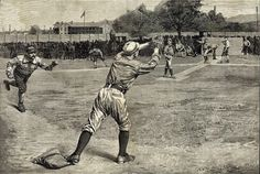 Original Engraving Thrown Out At Second by Gilbert Gaul, February 18 Decorative Arts) Baseball Scoreboard, Baseball Cards, Casey At The Bat, Historical Society, 19th Century, Art Decor, Museum, History, Antiques