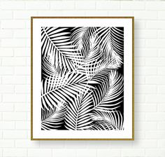 This listing is for 1 DIGITAL FILE in 8 x 10 (and 300dpi resolution) It can be enlarged up to 16 x20  ***No physical item will be shipped.***  Its a modern black and white printable pattern made from palm leaves. Beautiful modern wall decor. Excellent for the office, living room, babys room etc.   ***Background colour can be changed, please refer to the chart above*** Image will be available for INSTANT DOWNLOAD, right after the purchase. You can then print it either at home or use a…