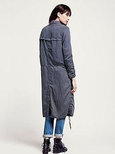 Free People Textured Duster sz M Long Washed Herringbone Navy Blue Jacket Coat