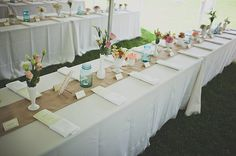 Love these family style tables, relaxed but still elegant.