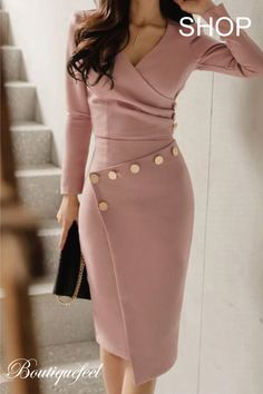 Buy Surplice Ruched Single Breasted Decorative Button Plain Bodycon Dress online with cheap prices and discover fashion Bodycon Dresses at fashionme to be fashionable now. Trend Fashion, Womens Fashion, Fashion Ideas, Fashion 2018, Classy Fashion, Winter Fashion, Fashion Fashion, Feminine Fashion, Sophisticated Fashion