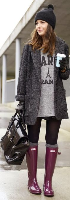 see more Hunter Pink Boots with Black Leather Handbag, Long Coat and Cardigan