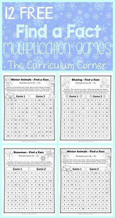 FREE Winter Themed Find a Fact Multiplication Games from The Curriculum Corner Multiplication Facts Practice, Math Fact Practice, Math Facts, Math Fractions, Maths, Multiplication Strategies, Math Intervention, Third Grade Math, Grade 3