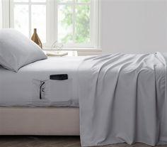 Dorm room gray sheet set with bedside pockets, dorm room bedding, dorm sheets, twin xl