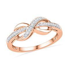 1/8 CT. T.W. Diamond Infinity Ring in 10K Rose Gold - View All Rings - Zales