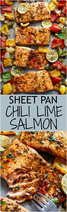 Sheet Pan Chili Lime Salmon with Fajita flavours, and a charred, crispy roasted trio of peppers for an easy and healthy weeknight meal! | cafedelites.com