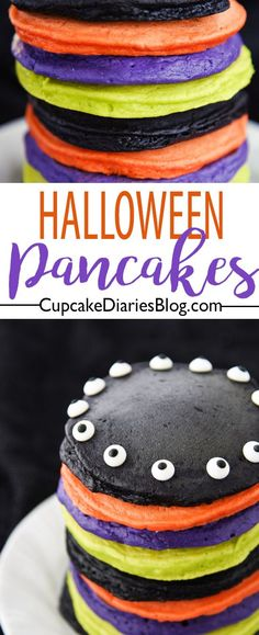 Halloween breakfast just got really colorful! Colorful Halloween Pancakes are the perfect way to start your Halloween holiday. Halloween breakfast just got really colorful! Colorful Halloween Pancakes are the perfect way to start your Halloween holiday. Halloween Snacks, Halloween Breakfast, Fairy Halloween Costumes, Halloween Goodies, Halloween Items, Halloween 2017, Easy Halloween, Holidays Halloween, Halloween Recipe