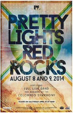 Concert poster for Pretty Lights with members of the Colorado Symphony Orchestra at Red Rocks in Morrison, CO in 2014.  11x17 card stock.
