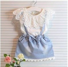 2 Piece Set- Hollow Out White Shirt Top + Denim Jean Overall Skirt