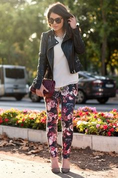 Love the floral + leather. Hard & soft