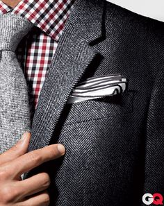 black, white, grey herringbone & red.