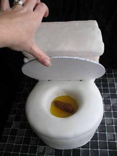 Toilet cake! Lid is cardboard. Poo is fondant. Pee is colored piping gel.