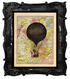 Vintage Book Print Vintage Book Page Art Print French Hot Air Balloon on a Map Book Page Travelling Buddies