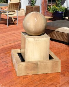 Block With Ball Garden Water Fountain