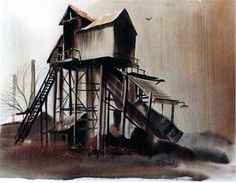 Painting of shed up on pylons; steep stairway to rear of shed; coal chute in front; looks to be dusk or a rainy gray day. Industrial, Coal Mining, Environment Design, Realism Art, Acrylic Art, Stairways, Landscape Art, Geology, Architecture Art