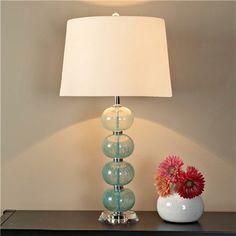 Peacock Aqua Glass Ball Table Lamp