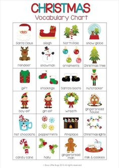 Christmas Vocabulary Cards - 40 fun vocab cards for your early readers. Teaching Vocabulary, Grammar And Vocabulary, Vocabulary Cards, English Vocabulary, Teaching Kids, Kids English, English Words, English Lessons, Learn English