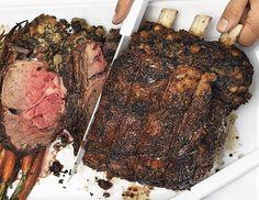 Standing Rib Roast, Spinach-Porcini Stuffing, Irish Whiskey Gravy, and Horseradish Cream  Recipe