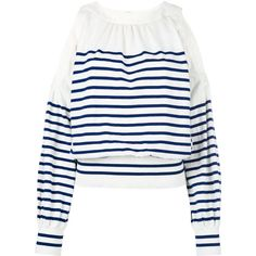 Sacai striped cold shoulder jumper ($880) ❤ liked on Polyvore featuring tops, white, balloon sleeve top, white open shoulder top, stripe top, cut out shoulder top and sacai