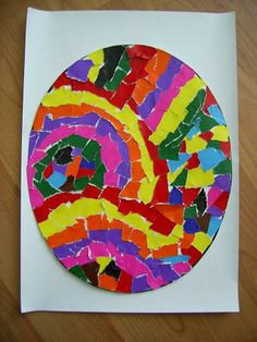 torn paper or mosaic tile Easter Eggs Easter Activities For Kids, Spring Crafts For Kids, Art Activities, Art For Kids, Easter Art, Easter Eggs, Diy Ostern, Easter Projects, Spring Art