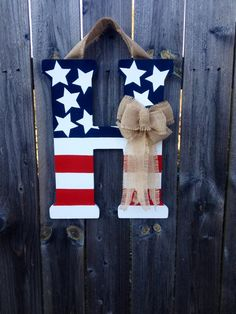Patriotic Monogram Door Hanger with Burlap by CraftyCoutureCandace, $40.00