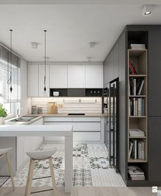 ▷ 1001 + ideas for kitchen design small space - openk Small Space Kitchen, Smart Kitchen, Small Spaces, Kitchen Cabinet Interior, Kitchen Room Design, Hanging Bookshelves, Cocinas Kitchen, Home Trends, Cuisines Design