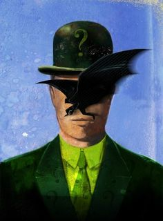 Batman and The Riddler meet surrealism