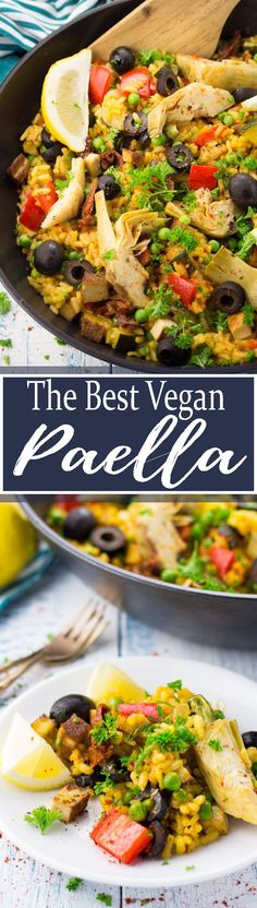 This vegan paella with artichokes and smoked tofu tastes like a trip to Spain! It makes such a delicious and healthy vegan dinner! SO good!! Find more vegan recipes at veganheaven.org <3