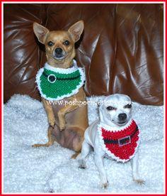 Posh Pooch Designs Dog Clothes: Christmas Santa Dog Bandanna Crochet Pattern | Posh Pooch Designs