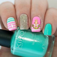 Girly Nautical Nails by Paulina's Passions