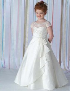 Cheap communion dresses, Buy Quality first communion dresses directly from China first holy communion dress Suppliers: 2016 white satin jewel neckline a-line bowknot floor length vintage children first holy communion dresses for Cheap Flower Girl Dresses, Lace Flower Girls, Little Girl Dresses, Girls Dresses, Prom Dresses, Wedding Dresses, Cheap Dress, Holy Communion Dresses, First Holy Communion