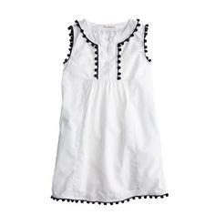 J.Crew Girls' pom-pom dress in white