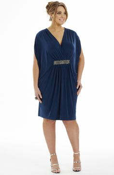 Beaded detail dress/midnight blue  Style No: ED5130 Heavy weight jersey fabric dress. This khaftan style dress has a front beaded detail band and a crossover bustline. It features dolman sleeves and drapes beautifully off the body. It also features an inside waist tie. #2013 #plussize