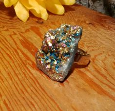 Just in: Real raw agate electroplated geode bohemian statement ring, boho ring, geode ring, adjustable geode ring, color changing ring, druzy ring https://www.etsy.com/listing/554276418/real-raw-agate-electroplated-geode?utm_campaign=crowdfire&utm_content=crowdfire&utm_medium=social&utm_source=pinterest